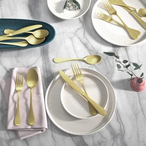 A few pieces of gold-toned flatware