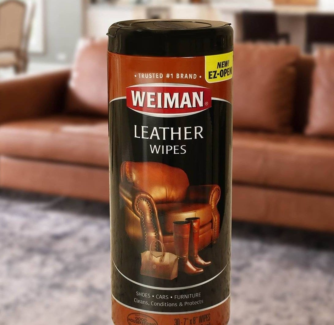 Product in front of a leather sofa
