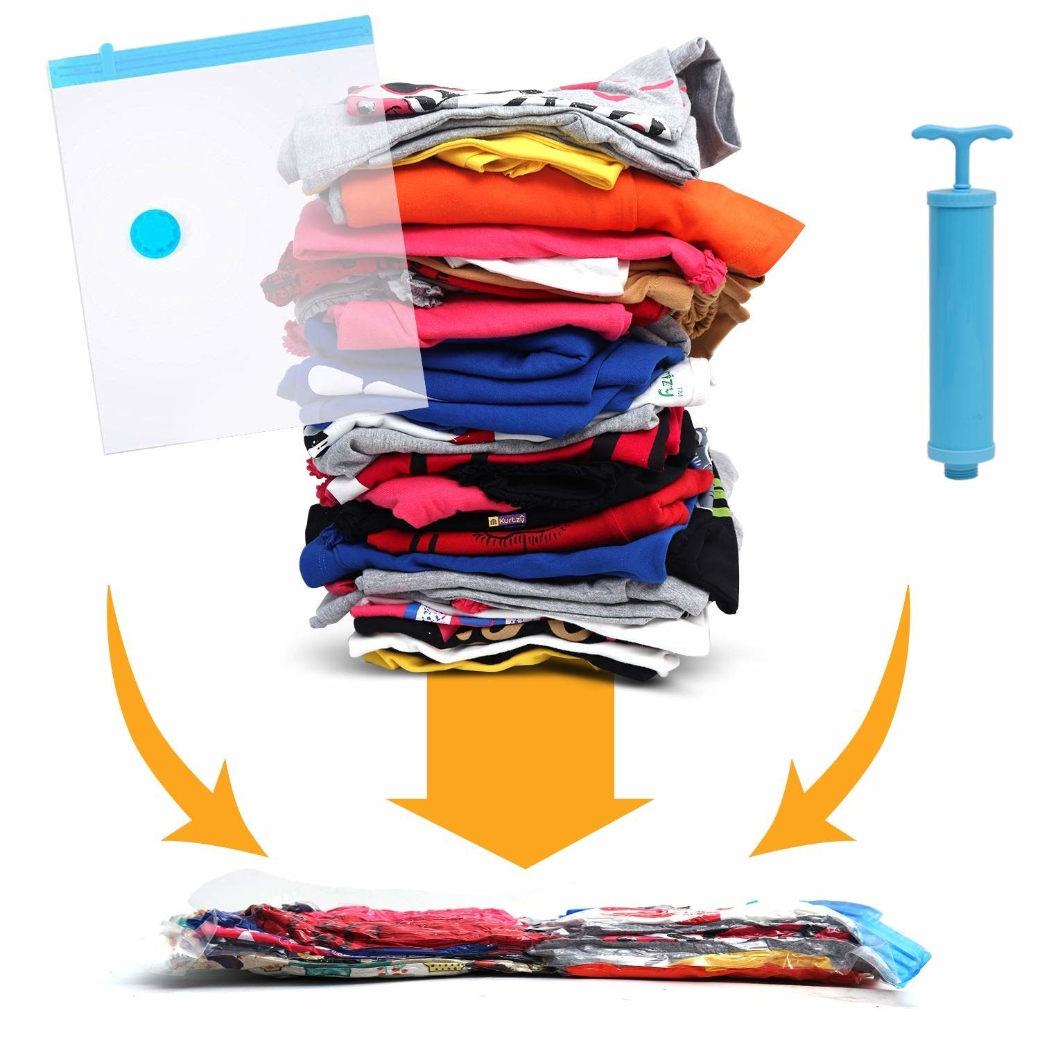 A compressed vacuum bag filled with clothes