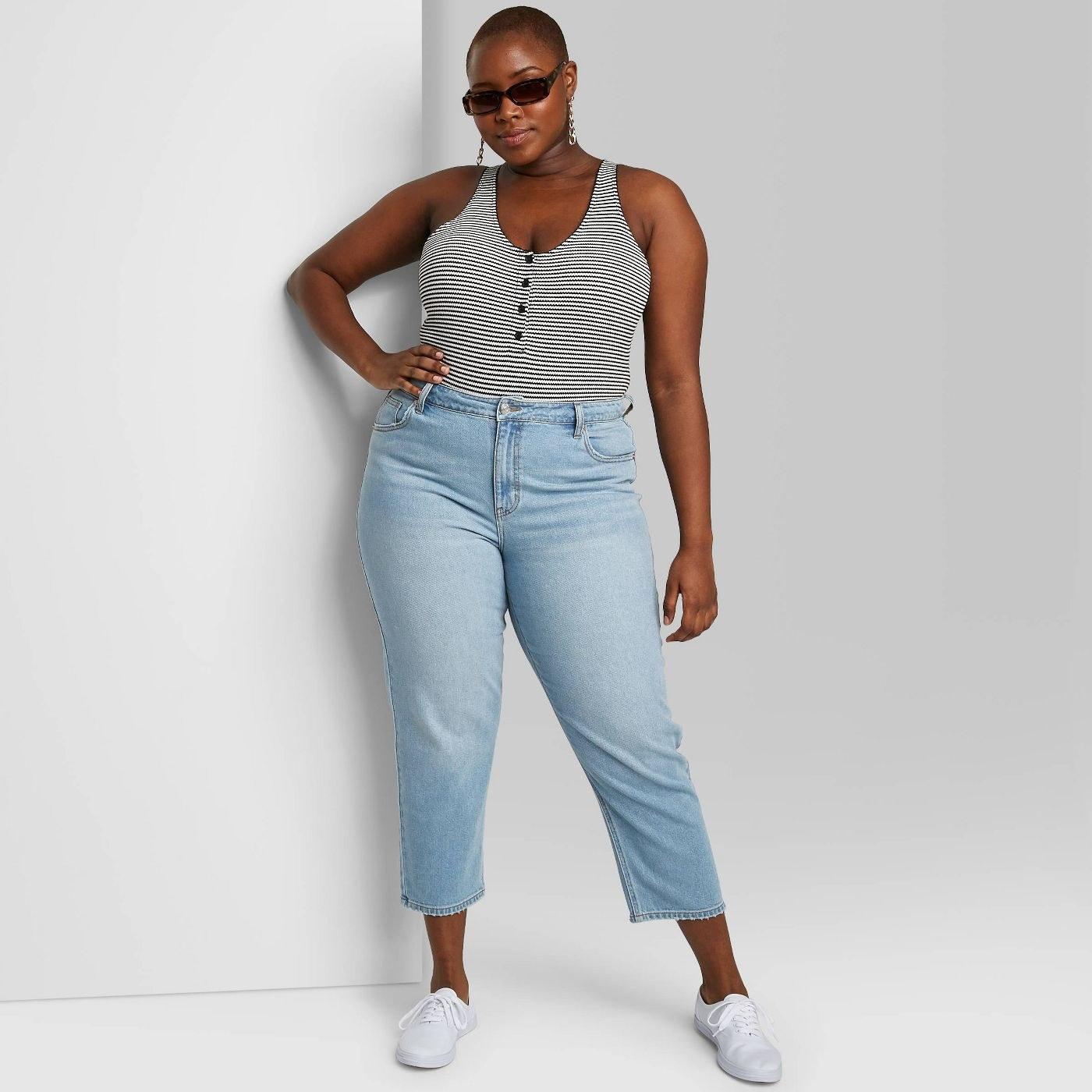 Model in light was jeans