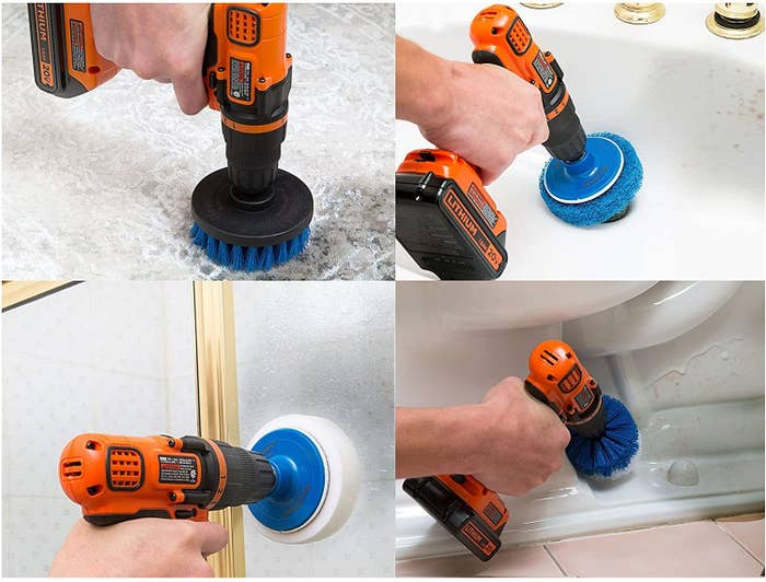 The four brush heads on drills cleaning various areas of a bathroom