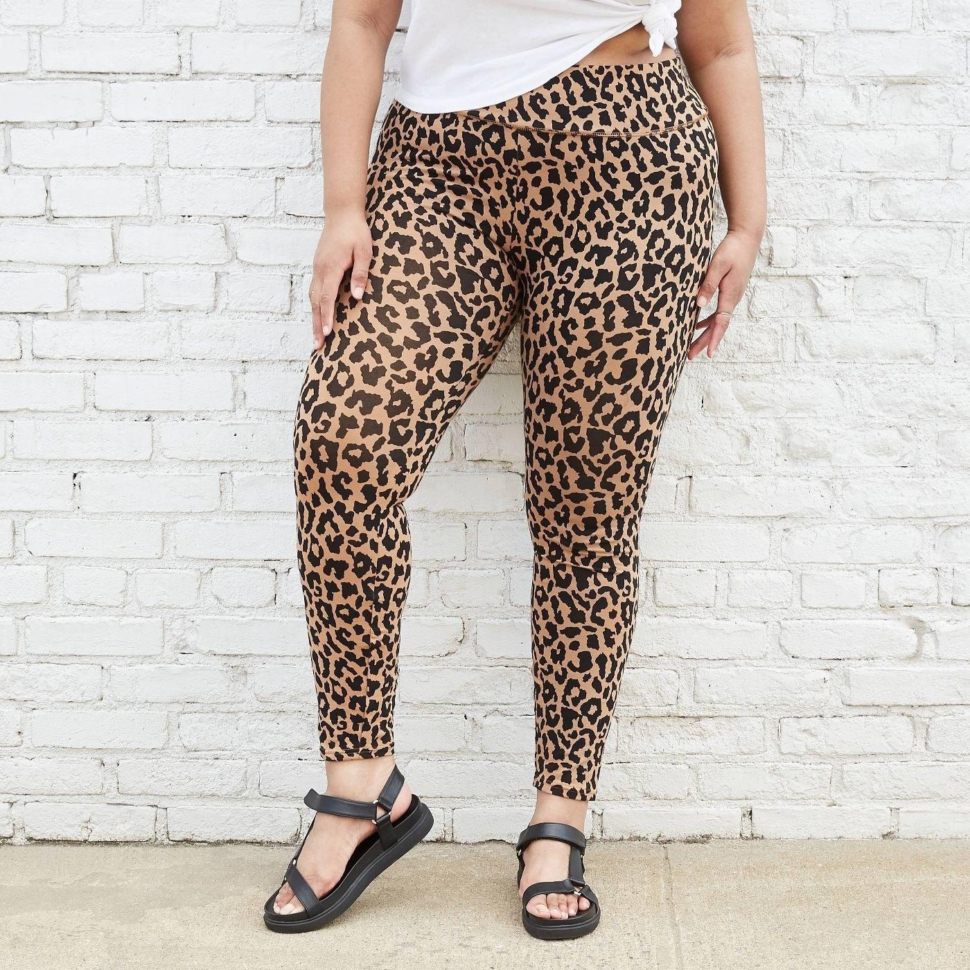 Model in leopard leggings
