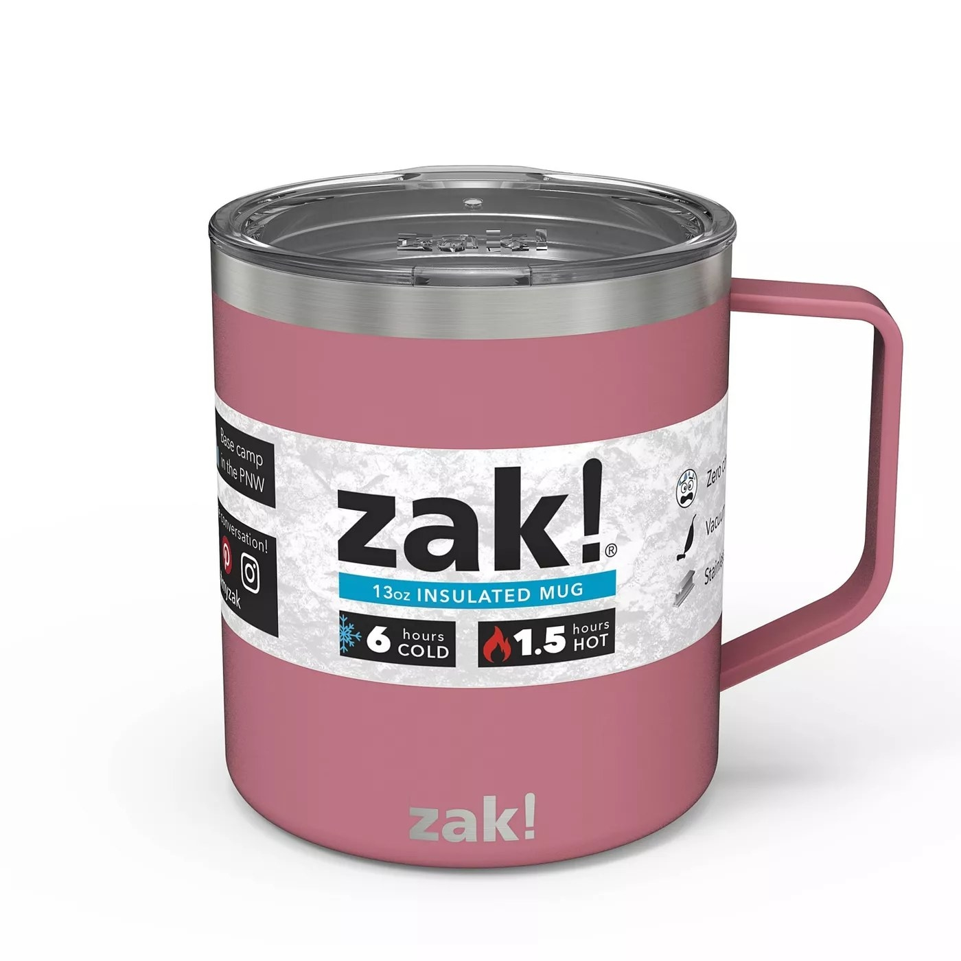The insulated mug in pink that can keep beverages cold for up to six hours and hot for up to 1.5 hours