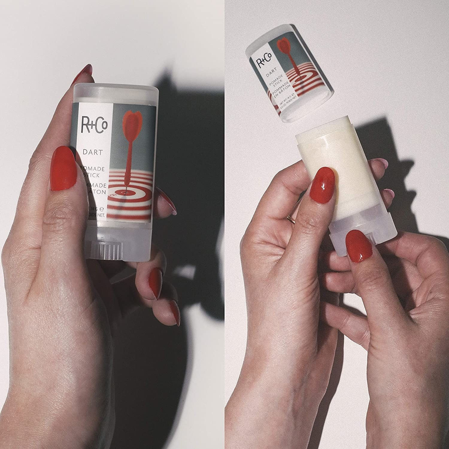 A person holding a pomade stick