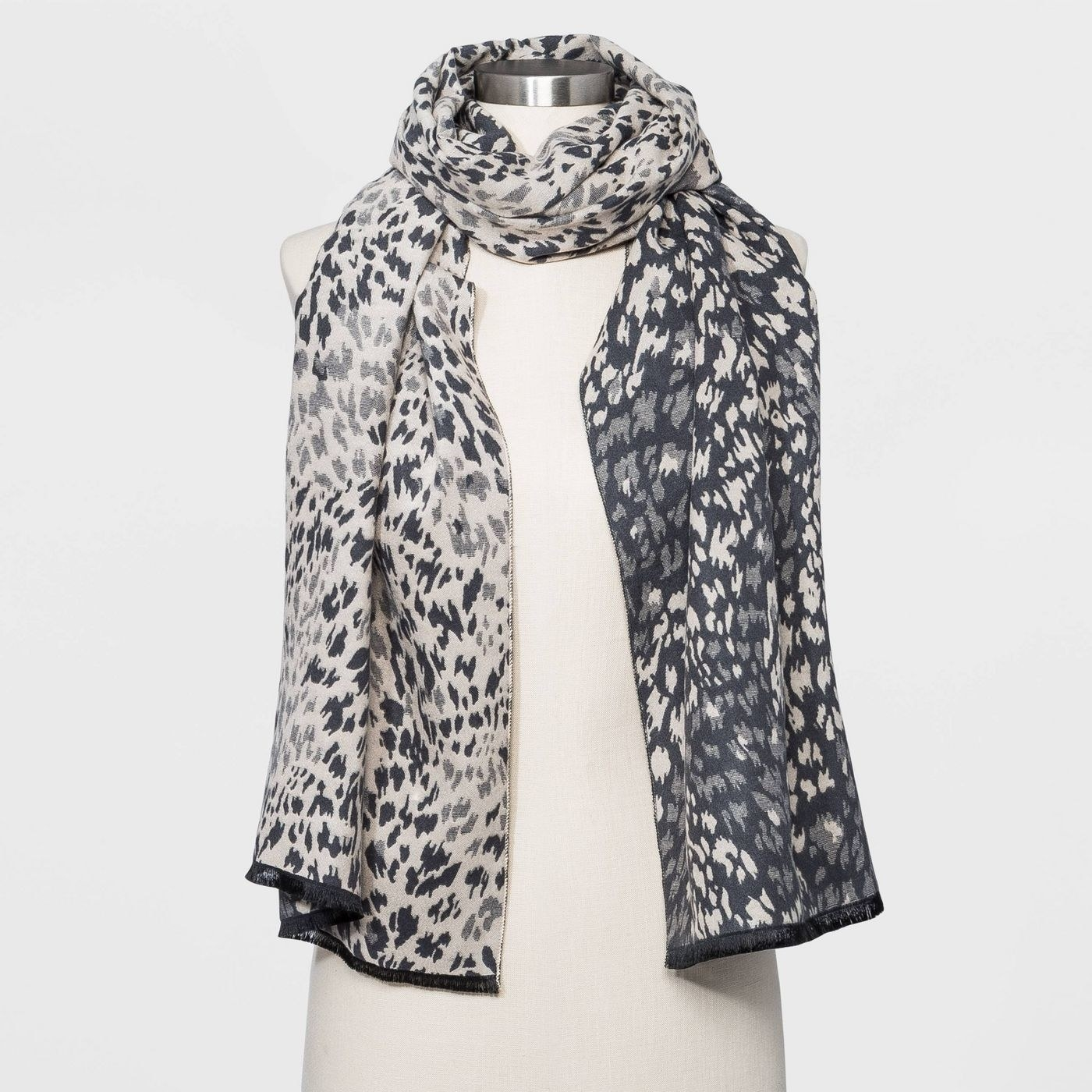 two-tone animal print scarf