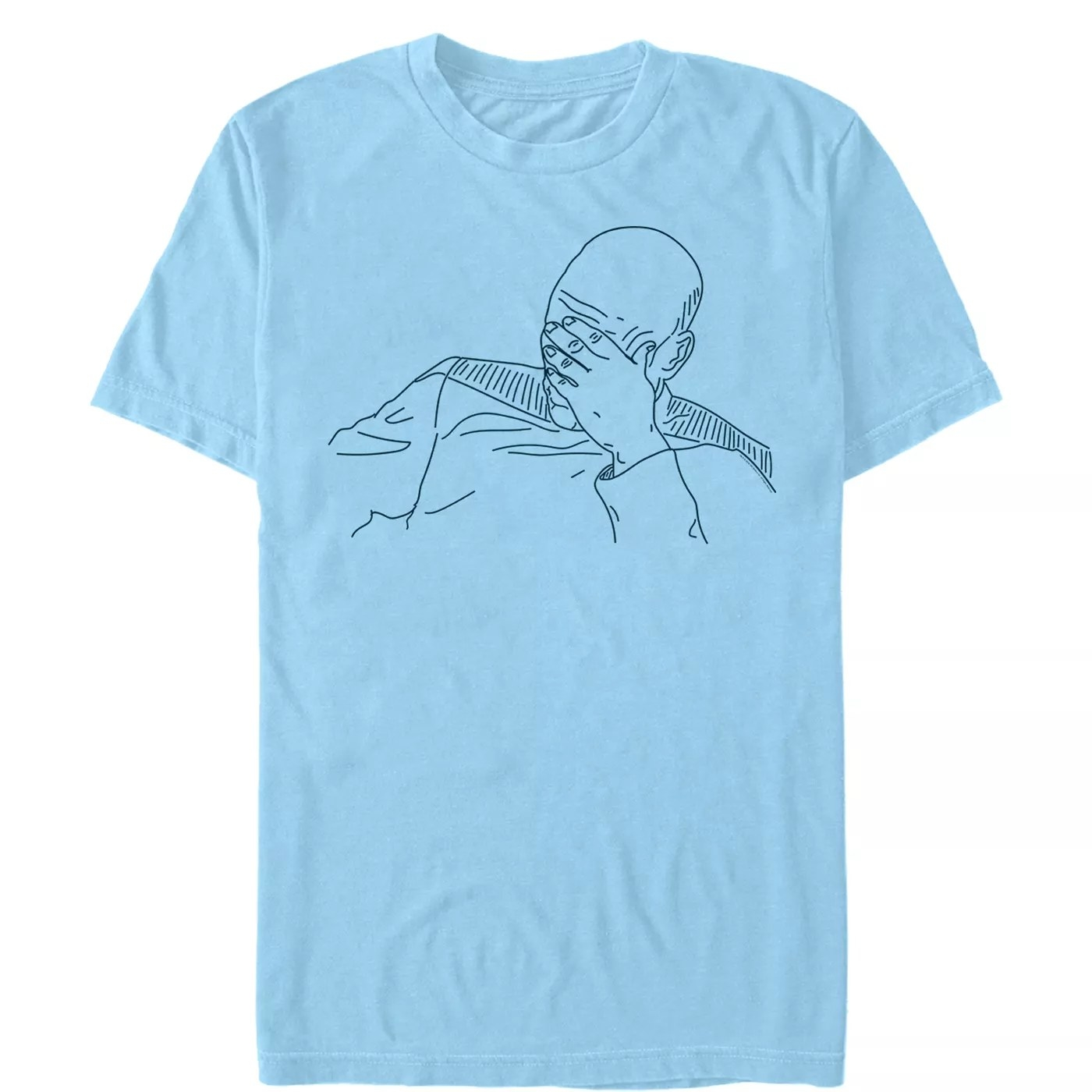 A blue shirt with Captain Picard with his hand covering his face