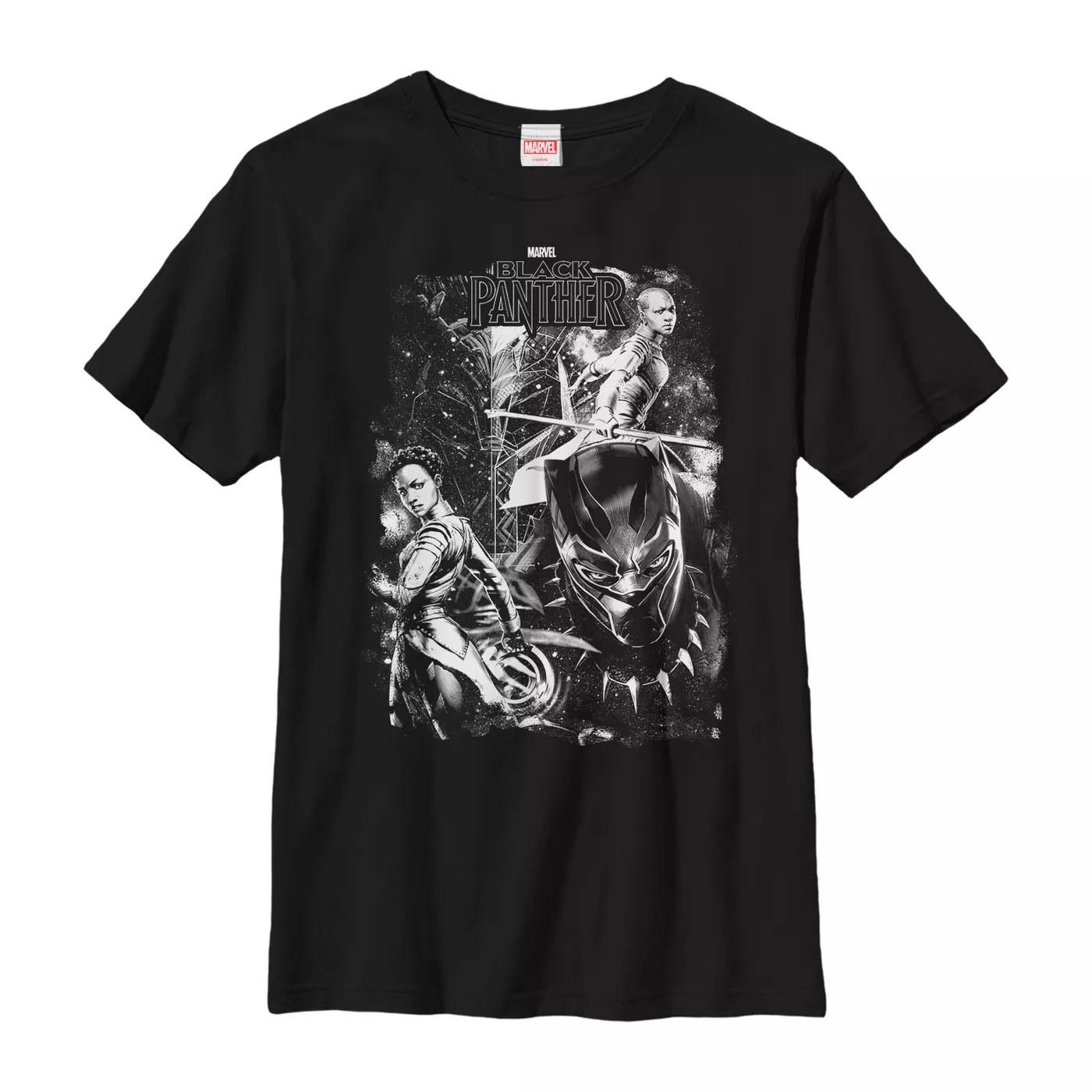 A black Black Panther shirt with T'Challa, Nakia, Killmonger, and Okoye in white
