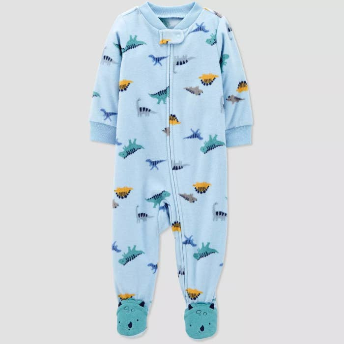 The dinosaur, fleece footie pajamas