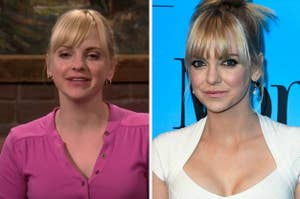 "Anna Faris as Christy in ""Mom"" / Anna Faris on a red carpet"