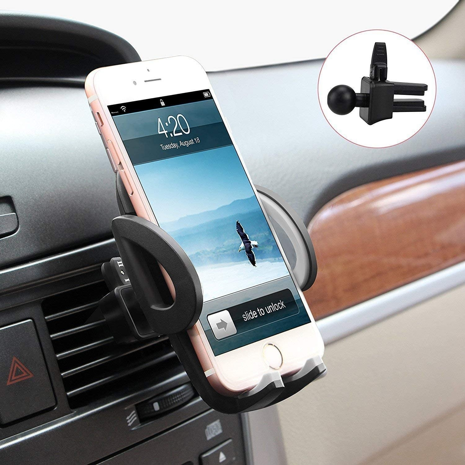 An iPhone  secured in the phone mount