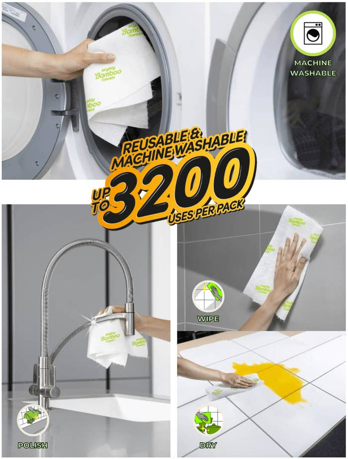 "Above, hands putting a towel in the washer. Below, hands using the towels (which look like thicker paper towels) for polishing, wiping, and drying up spills. Text over all the images reads ""Reusable & machine washable up to 3,200 uses per pack"""