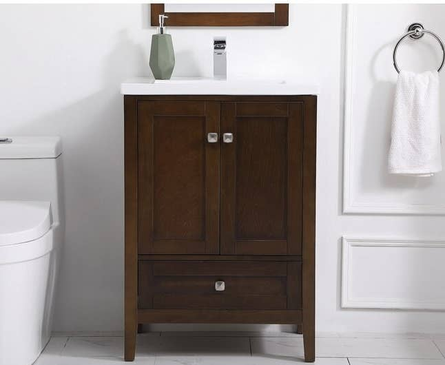 the brown bathroom vanity