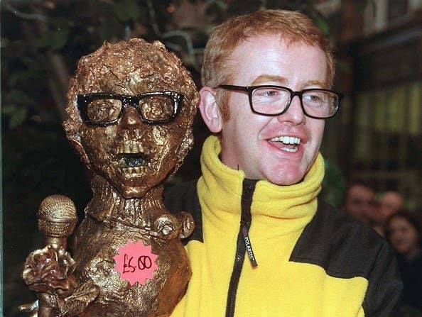 chris evans holding a gold statue of himself wearing a yellow fleece