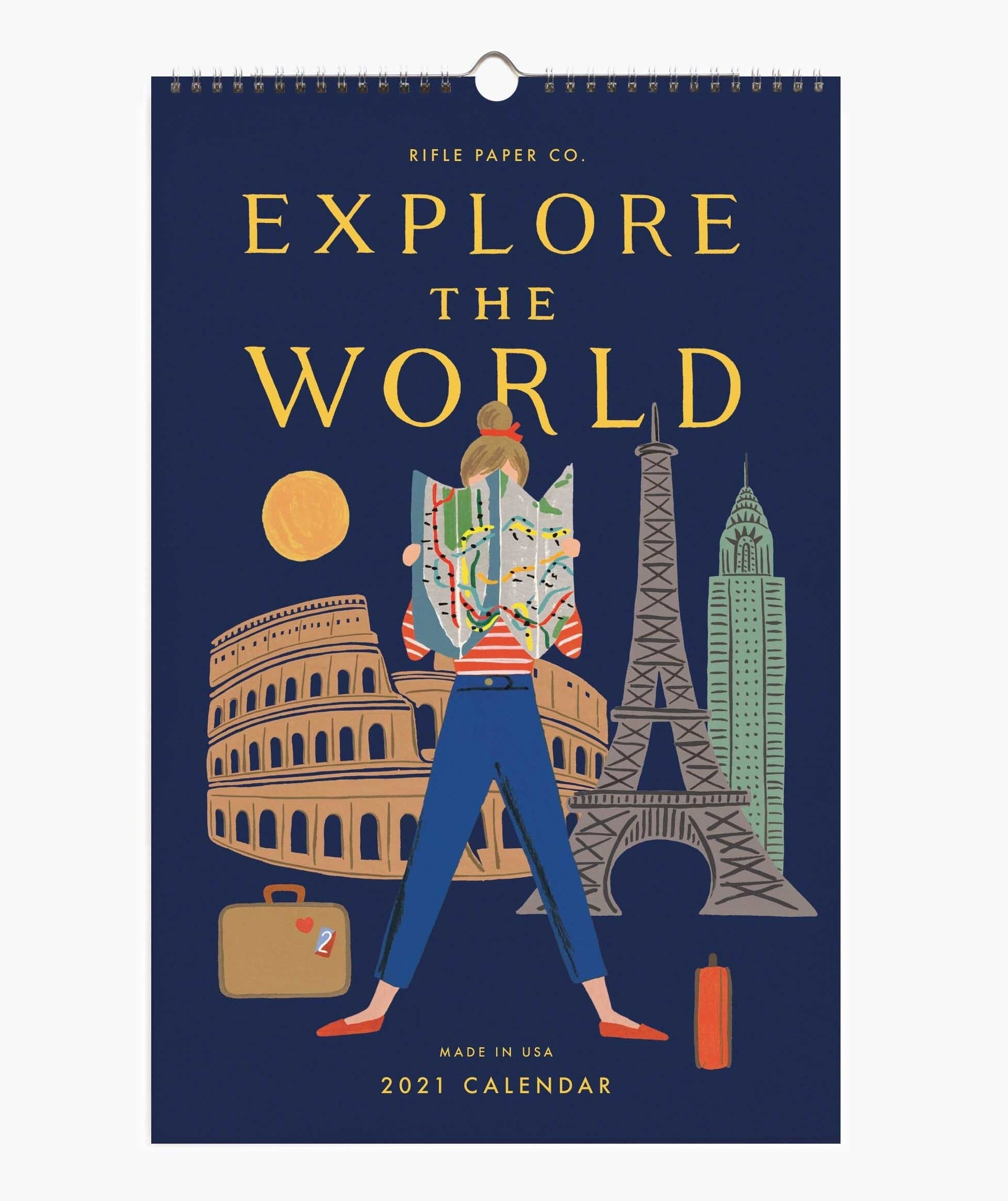 "a 2021 wall calendar labeled ""explore the world"""