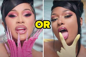 """Cardi B is wrapping her hands around her chin on the left with """"or"""" written in the center and Meg sticking her tongue out on the right"""