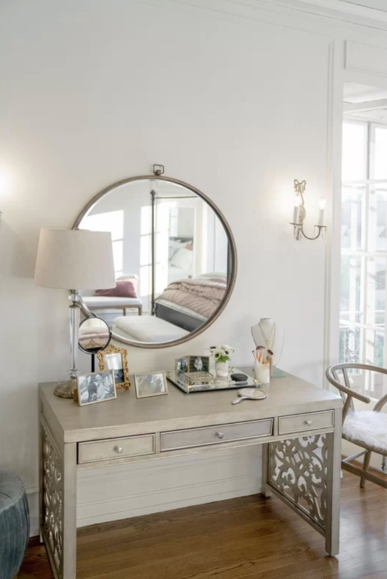 The mirror being used as a vanity