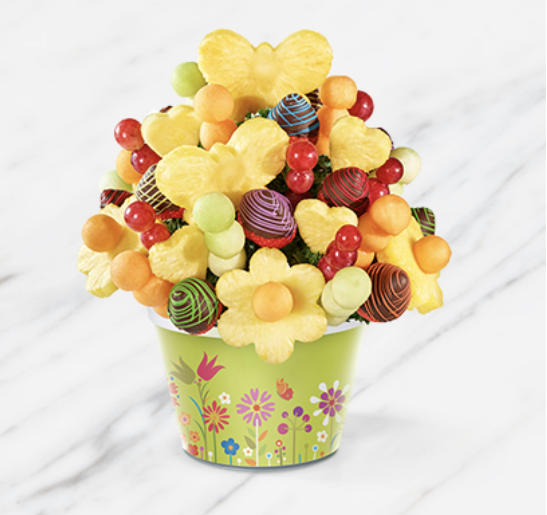 Fruit basket with some fruits in butterflies and heart shapes