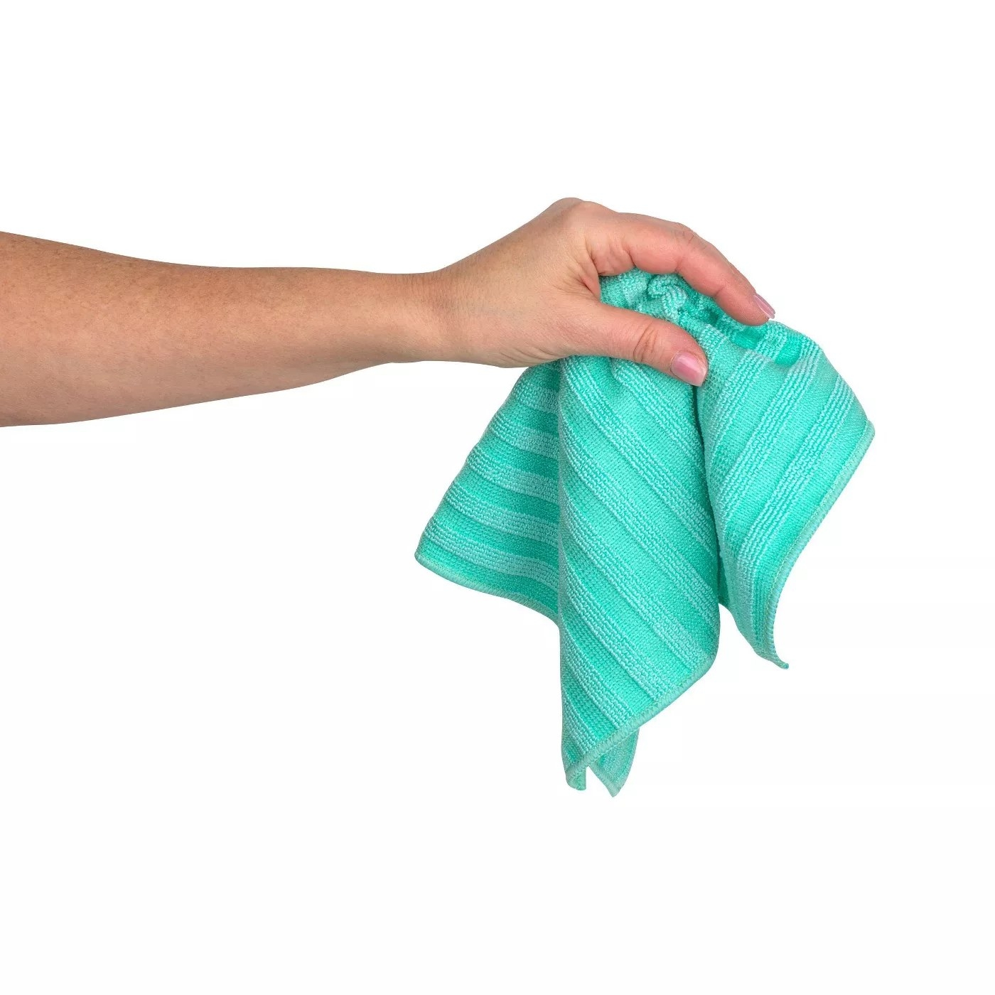 A turquoise microfiber cloth with a striped texture
