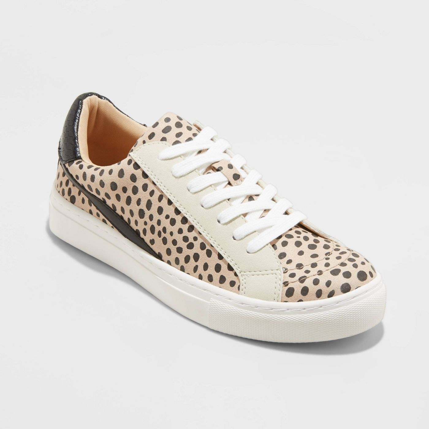 Animal print lace-up sneakers with colorblocking details