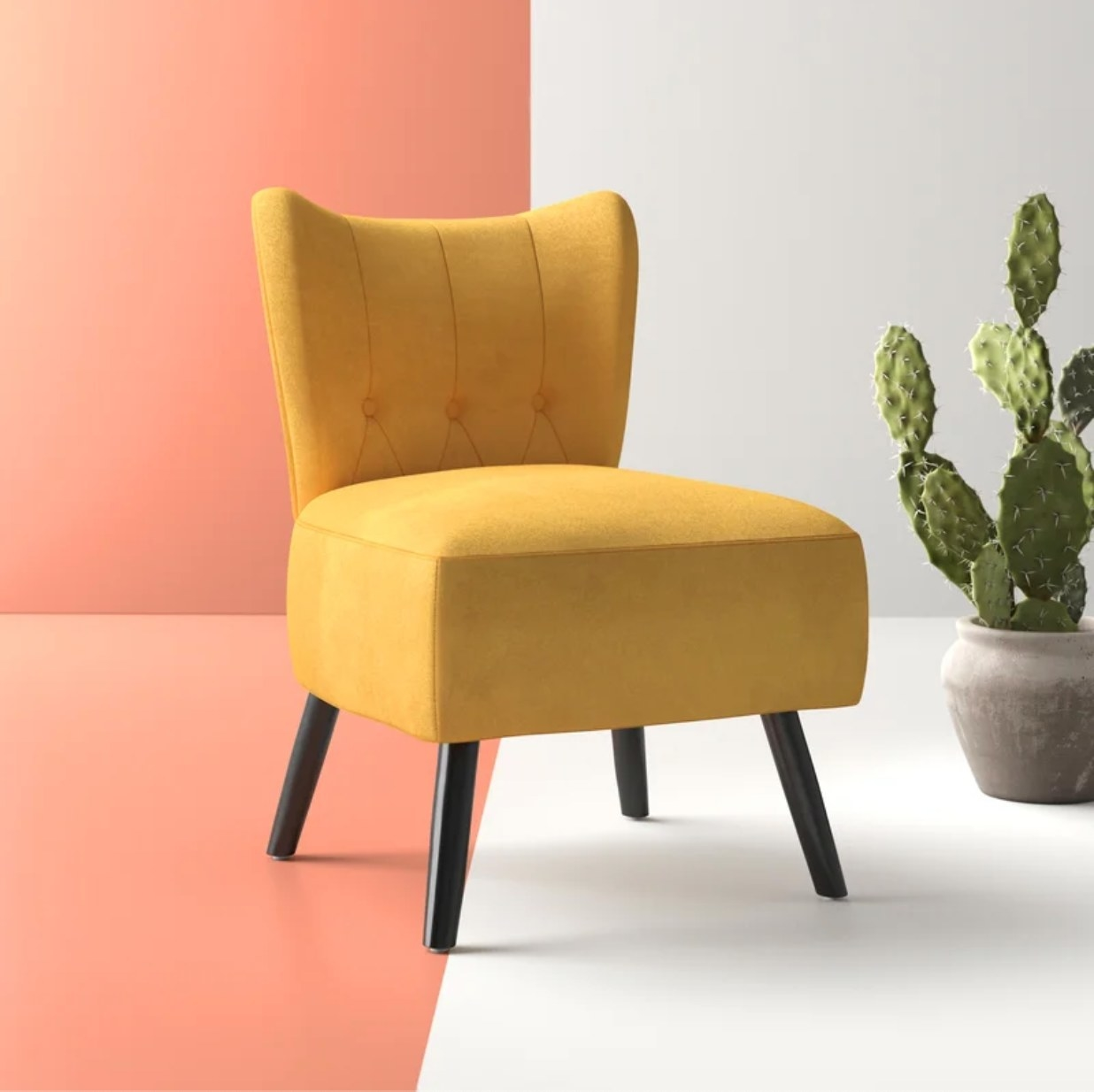 The yellow accent chair