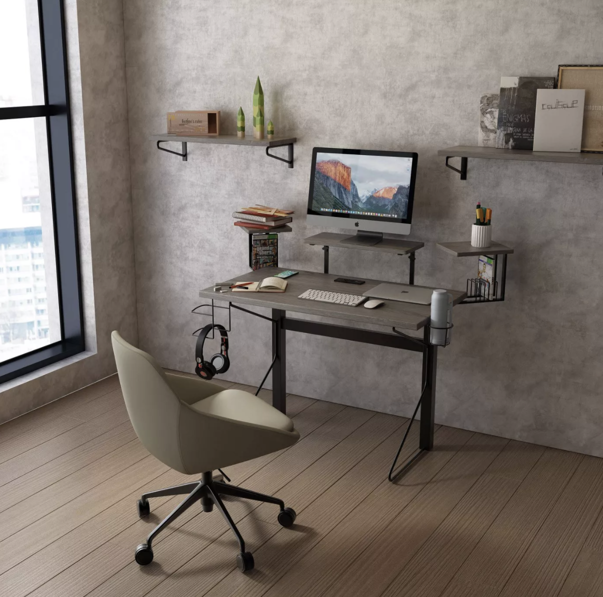 a thin gaming desk with a cup holder, hook for headphones, and three elevated platforms