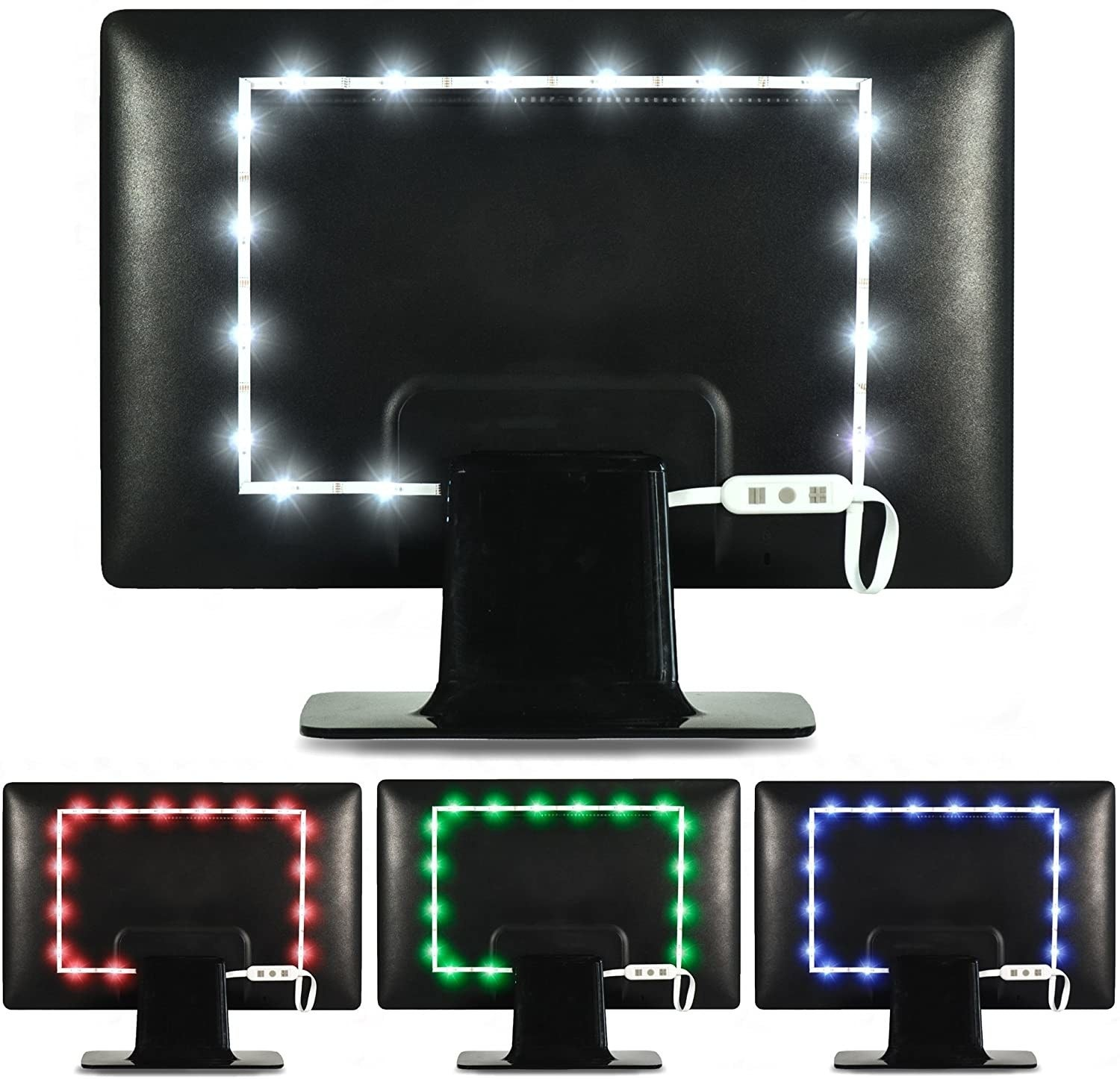 imagery showing how the backlights are set up behind the screens and showcasing the different color options
