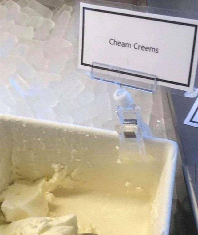 "Cream cheese container reading ""cheam creems"""