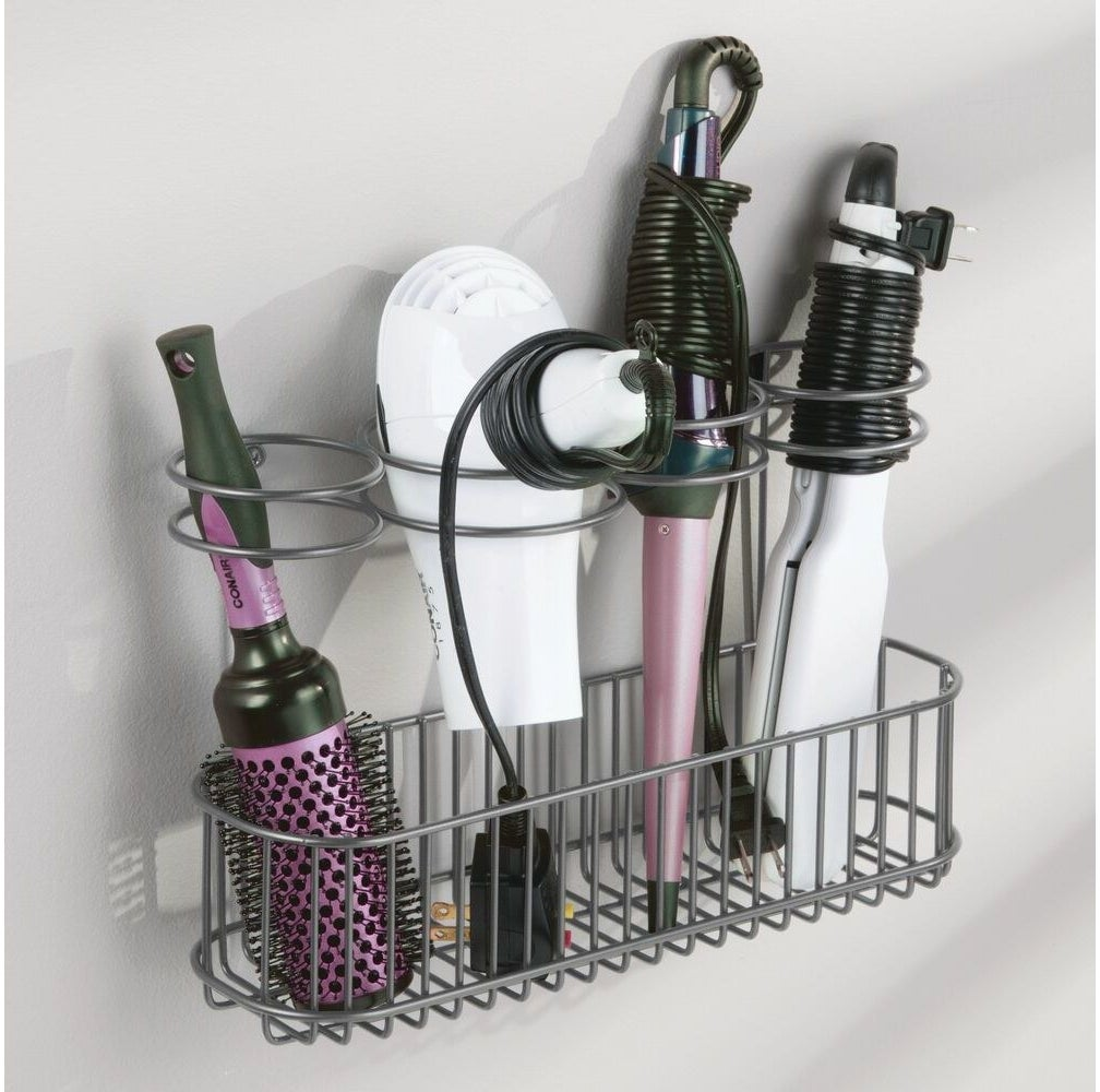 The gray metal hair tool organizer