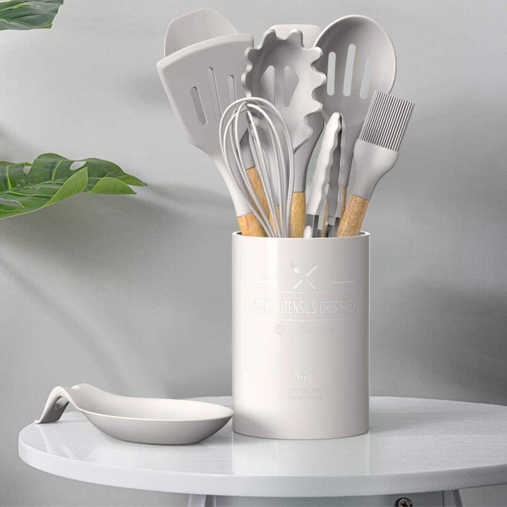 the utensils in a matching cannister