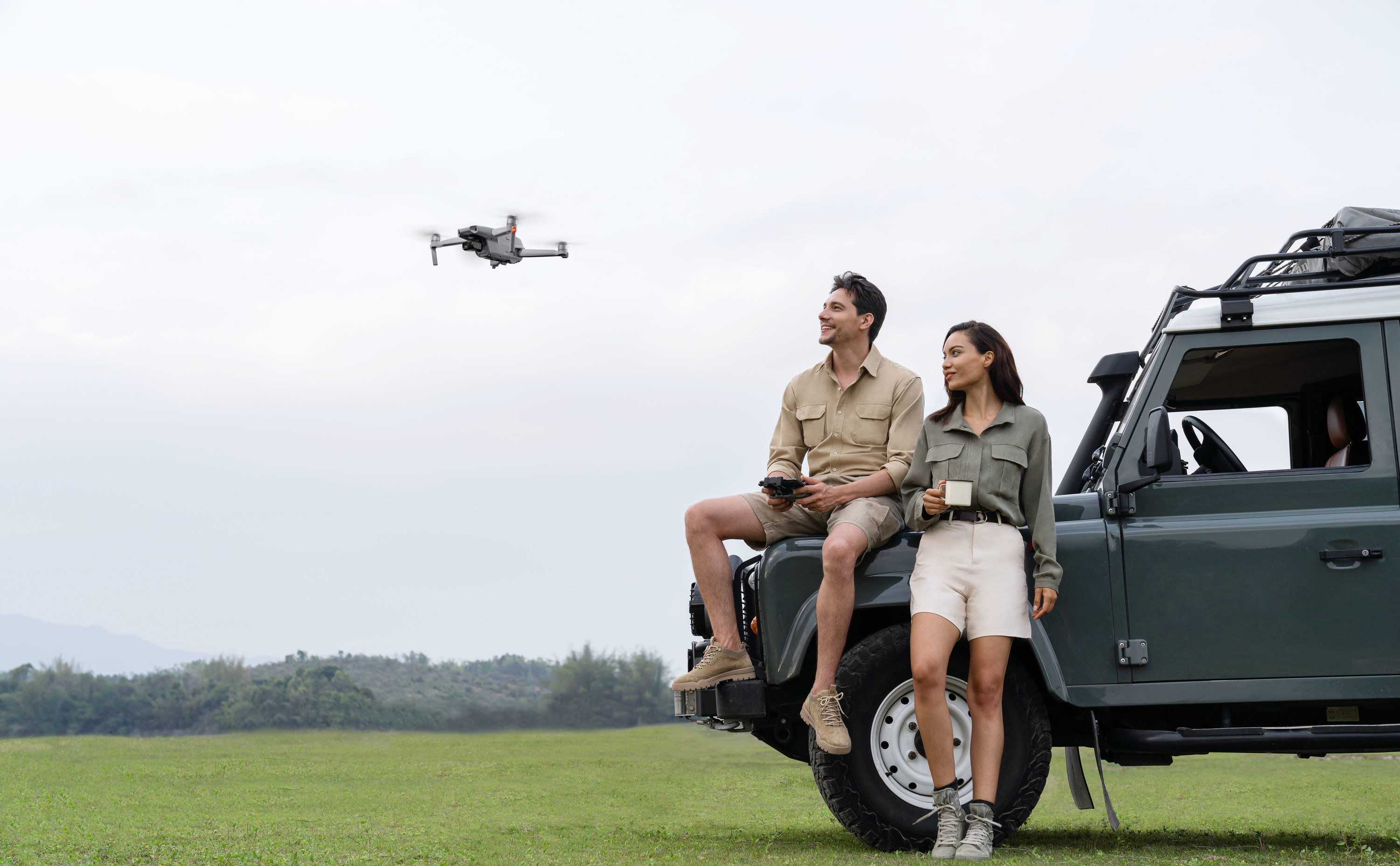 Models using the drone with remote control