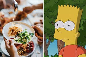 A person is twisting her pasta on the left with Bart Simpson on the right