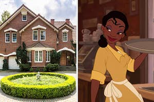 """On the left, a brick house with a circular driveway, and on the right, Tiana from """"The Princess and the Frog"""""""
