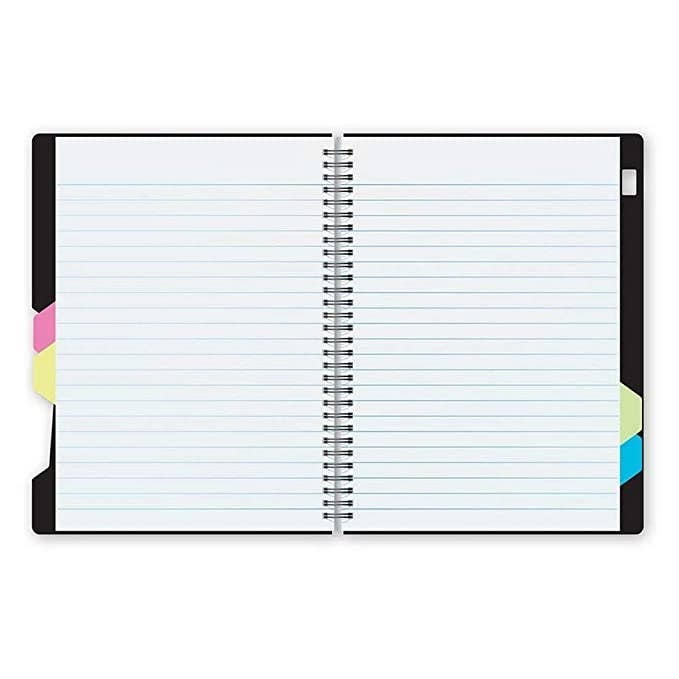 A white dukes notebook with subject dividers