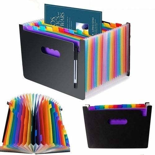 A harmonica file folder with colourful compartments