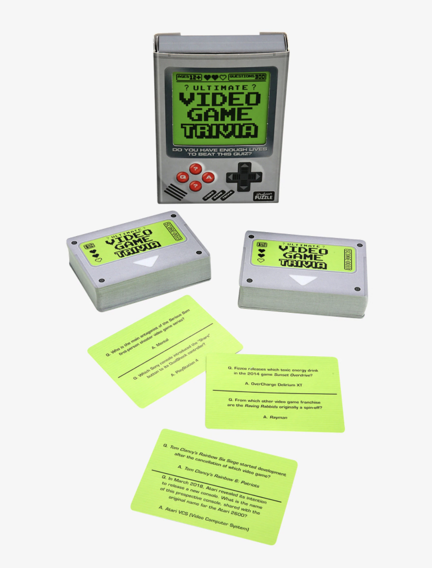 the box and cards for the trivia game