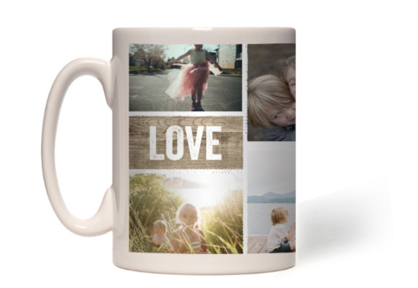 A white mug with a collage of photos on it
