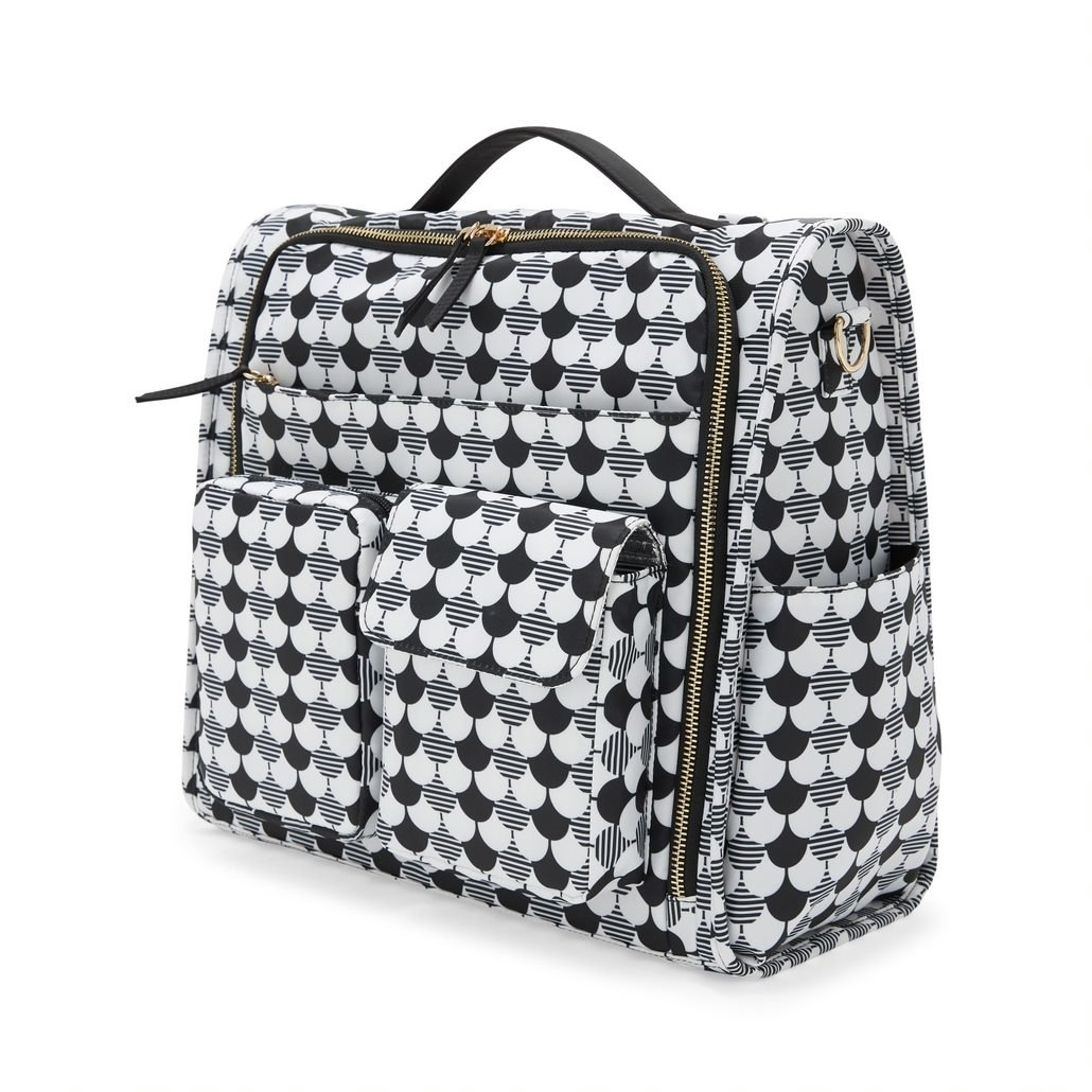 The black and white patterned diaper bag