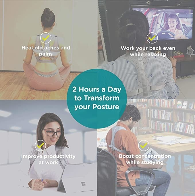 A collage of the posture corrector being used while meditating, watching TV, working and reading.