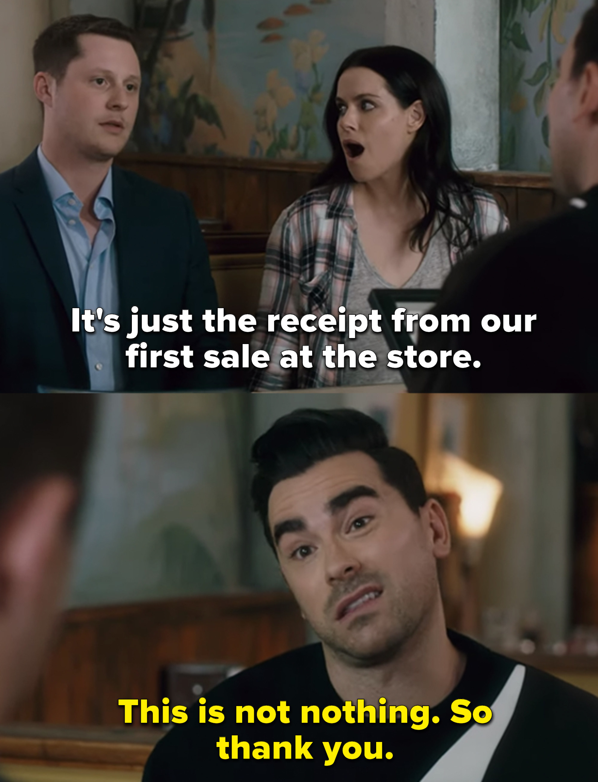 Patrick says it's a receipt from their first sale at the store, and David says it's not nothing and thanks him