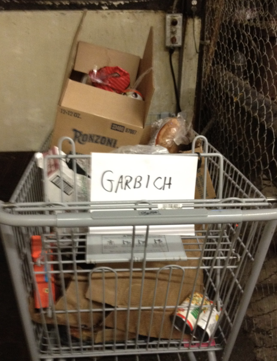 "Shopping cart reading ""garbich"""