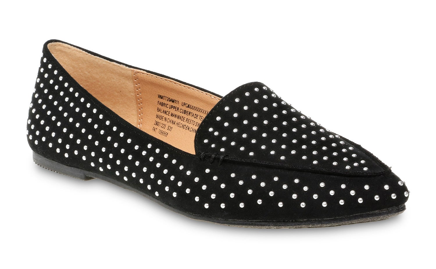 The black shoes with studded embellishments