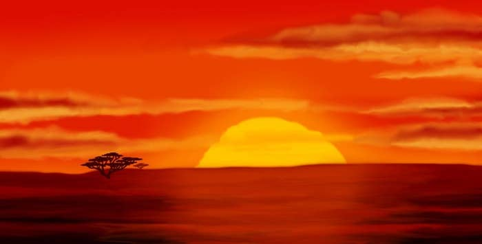 The opening intro scene from the Lion King cartoon