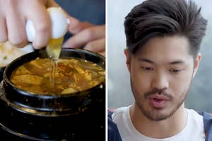 A bowl of Korean jjigae, soup and actor Ross Butler