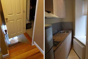 A bedroom door opened in the middle of a staircase and a narrowing kitchen