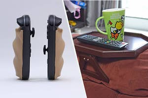 to the left: rubber attachments for the nintendo switch, to the right: a table for the edge of the couch arm