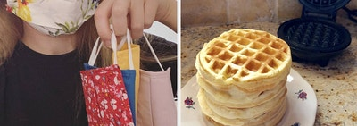face masks and waffles