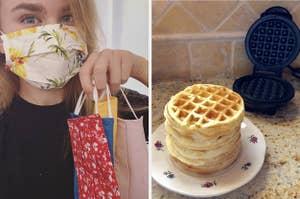 face masks and waffles