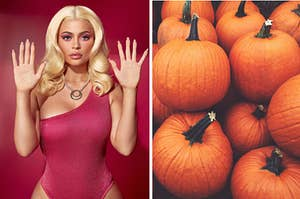 Kylie Jenner dressed up for Halloween and pumpkins.