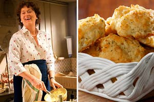 Meryl Streep is mixing batter on the left with a basket of herb biscuits on the right