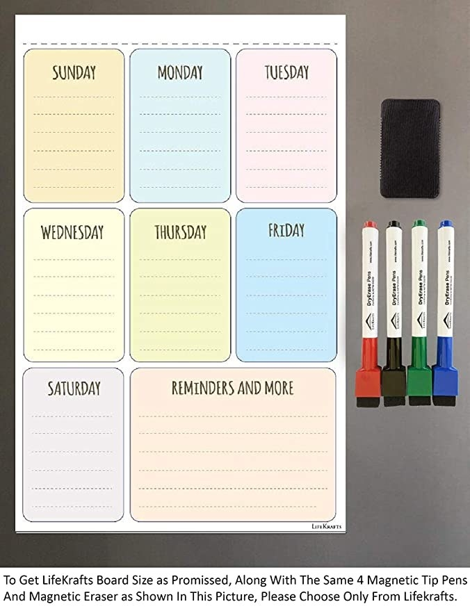 The weekly planner stuck on a fridge with red, black, green and blue markers near it.